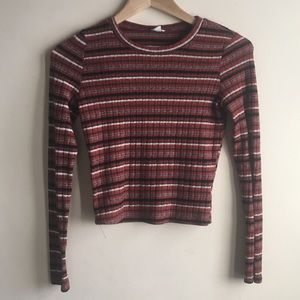 Striped Ribbed Cropped Garage Sweater